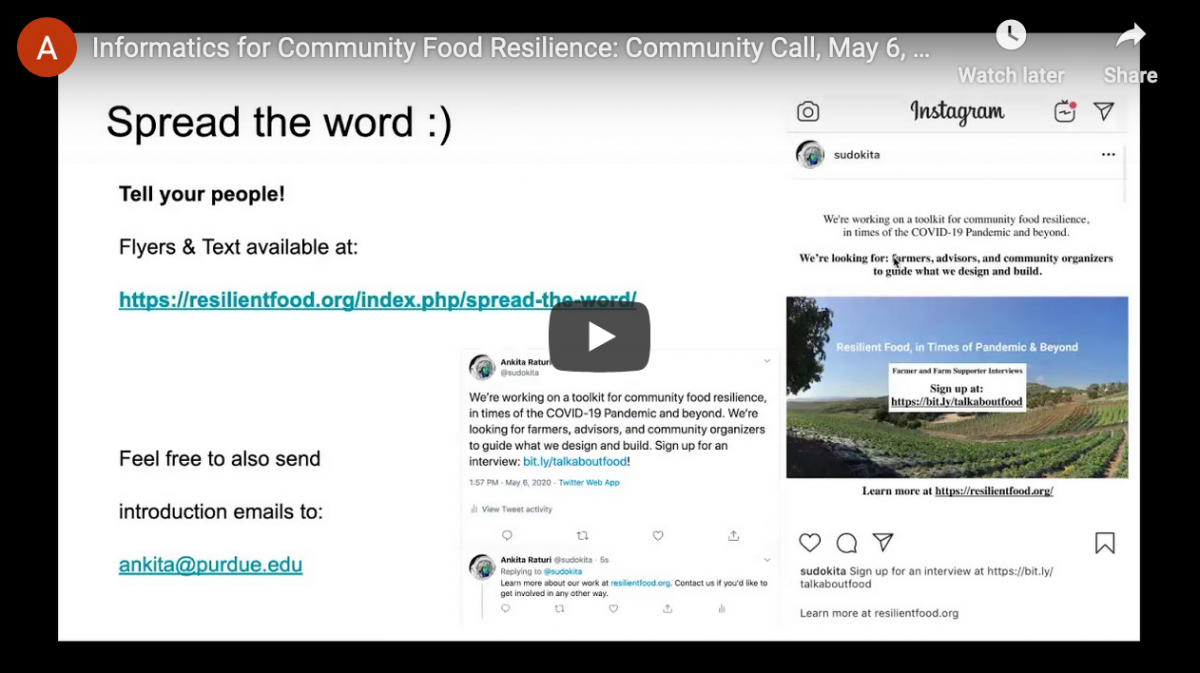 Screen shot of recorded presentation of Community Call on May 06, 2020